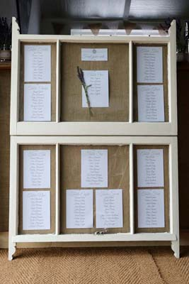 sash window table plan at a rustic country wedding
