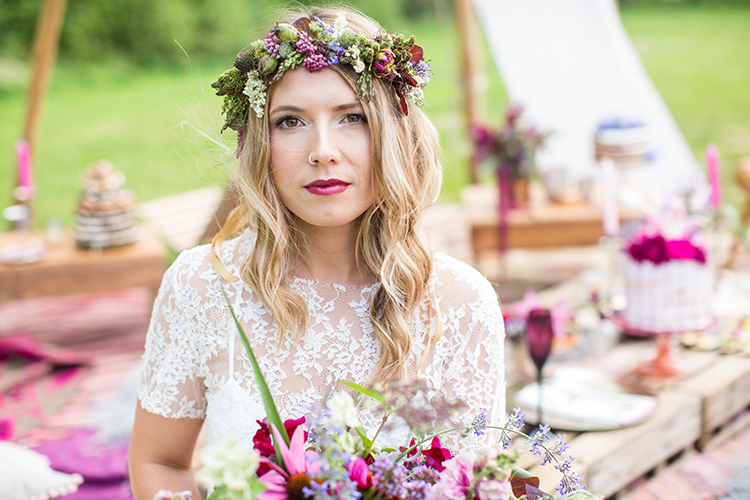 Bright colourful flowers for a festival wedding