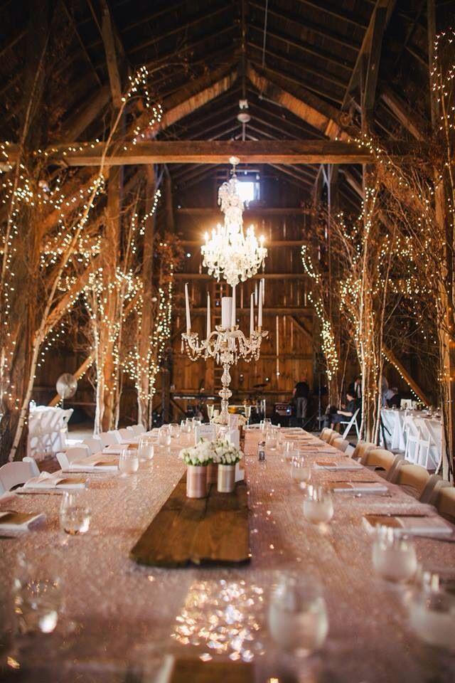Barn wedding lighting