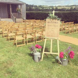 Outdoor Wedding ceremony at Cott Farm