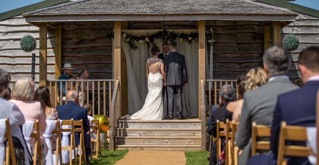 Wedding ceremony at Cott Farm
