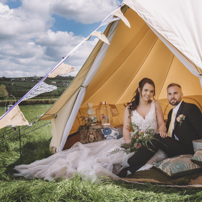 Wedding venue with campsite and wedding glamping