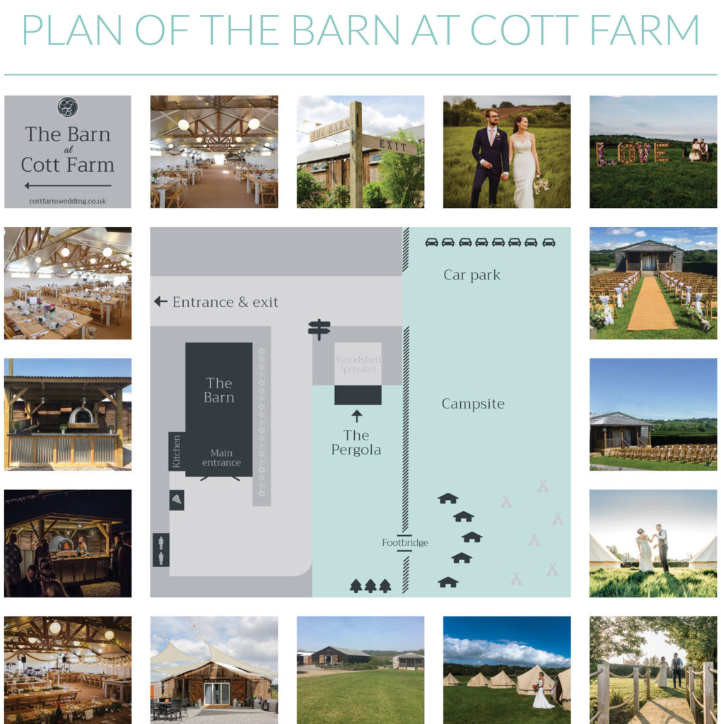 plan of the barn at cott farm wedding venue